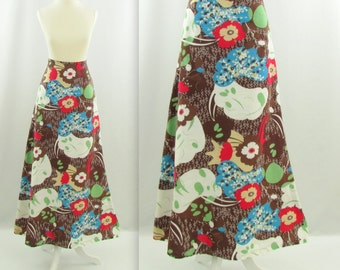 Modern Nature Maxi Skirt - Vintage 1970s Retro A Line Printed Skirt in Medium