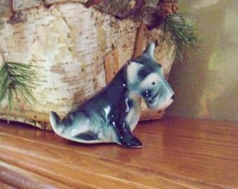 "Scottish Terrier Figurine, Signed ""Blue Boy"" Dog Figurine, 30's Miniature Figurine"