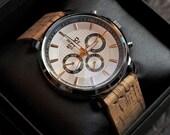 Mens Calendar Watch, Handmade Cork Straps, Quartz Watch, Wedding Gift,  Anniversary Gift, Unisex, GEQC-SD01