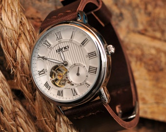 Mens Automatic Watch, Open Heart, Engagement Gift, Luxury Watch, Wedding Gift, For Him, Leather Watch, SALE, GEML-WD02