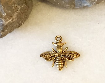 GOLD Queen Bee Charm / Gold Charm / Gold Queen Bee / Gold Bee Charm / Pewter Charm