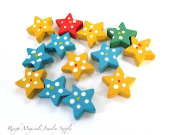 Wooden Star Beads, Hand Painted Wood, Yellow Blue Red Green, 20mm Celestial Beads - 13 Pieces