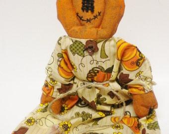 Primitive Pumpkin Doll, Halloween Decor, Country Farmhouse
