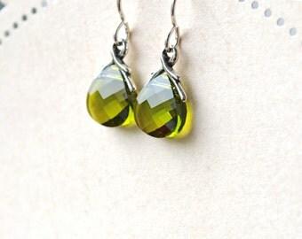 Swarovski Earrings, Olive Green Earrings, Sterling Silver Earrings, Olive Green Jewelry, Crystal Teardrop Earrings, Green Dangle Earrings