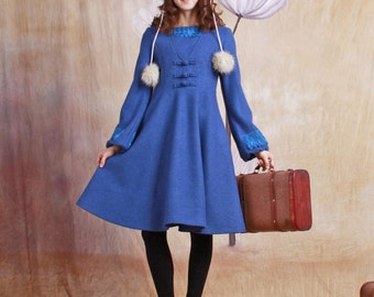 wool coat--blue coat woolen coat long coat cashmere jacket