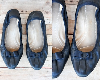 FERRAGAMO Ballerina Flats Supple Black Leather Ballet Flats Salvatore Ferragamo Italian High End Vintage Designer size 6 M - 36