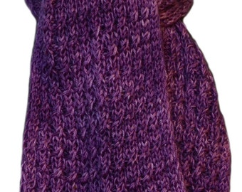 Hand Knit Scarf - Purple Iris Cashmere Silk Cable Rib