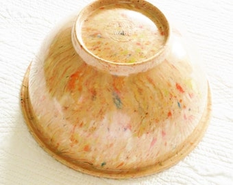 Vintage Shabby Chic Salmon Pink, Turquoise Blue, and Celadon Green Texas-Ware Bowl, Farmhouse Vintage, Olives and Doves