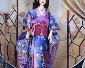 BJD kimono  handmade by GGDollfashions Furisode Japanes clothing for BJD Doll  SD 55-70  sm