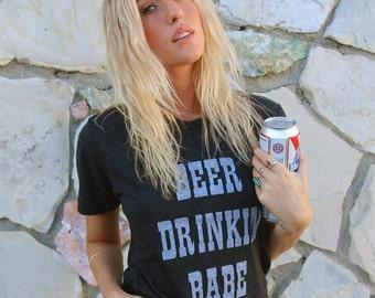 Beer Drinkin Babe tshirt- beer tshirt- womens tshirt- vintage inspired tee-thin tshirt-monogram tshirt- tri blend tshirt- beer tee