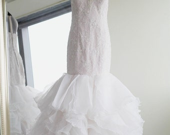 Soft Blush Lined Wedding Dress Bridal Gown Made with Ivory Lace and Organza accented with Hand-Beaded Bling  YS1981850978