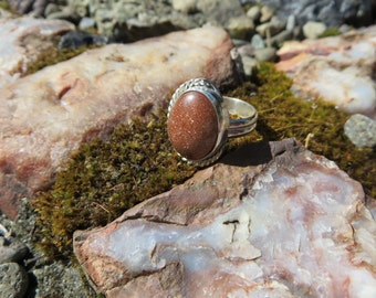 Goldstone, size 6,  boho chic, statement ring, sterling silver, one of a kind, numbered, boho, metalsmith, silversmith, metalwork, silver