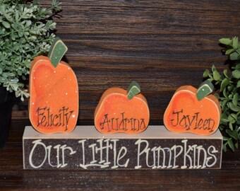 Pumpkin Thanksgiving Decor Personalized Pumpkin Family Block Set Personalized Housewarming Gift Thanksgiving Decoration Personalized Holiday