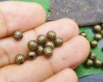 100 PCS - Antique Bronze Beads - 6mm Corrugated Round Beads - MB002