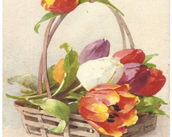 Catherine Klein - Basket with Tulips - Printed in Switzerland - Number 1202 - Vintage Postcard