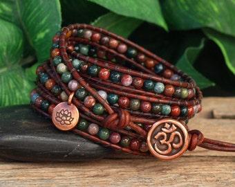 Wrap Bracelet, Beaded Leather Wrap Bracelet, Fancy Jasper Brown Leather  Bracelet, Stone Wrap Bracelet, Gypsy Wrap Bracelet, Five Wrap