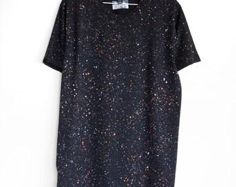BLACK SPECKLE t shirt. 100% organic cotton t-shirt. Hand printed. Black shirt. Black t-shirts.