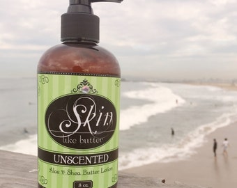 UNSCENTED ~ Shea Butter Lotion, Handmade Fresh for You, Thick and Non-greasy, soaks in fast, fragrance free, the fix for your dry skin