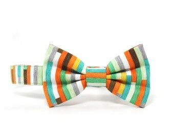 Striped Dog Bow Tie Collar Geometric Dog Bowtie Aqua Orange Dog Collar - Milo