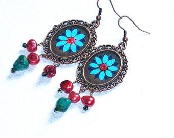 Boho Earrings Hand Painted Hippie Bohemian Dangling Jewelry