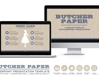 Vintage Design Powerpoint Presentation Template - Butcher Paper for eBooks, Slide Docs and Online Course Layouts