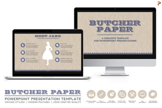 vintage design powerpoint presentation template - butcher paper, Presentation templates