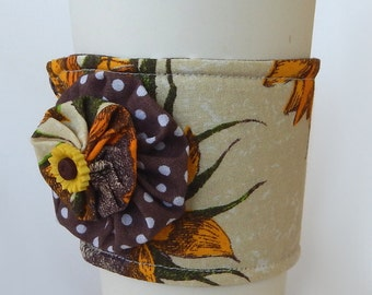 Coffee Cup Cozy / Sunflowers / Sunflower Cup Cozy / Drink Sleeve / Floral / Cup Cozy / Re-Usable Cup Sleeve / Fabric Cup Cozy