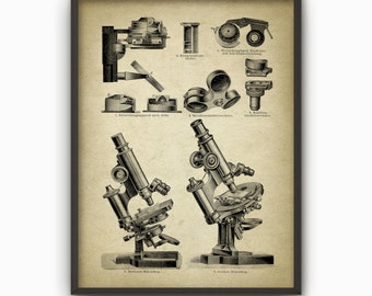 Antique Microscope Print #3 - Biology Wall Art Poster - Science Student Gift Idea - Vintage Optical Microscope Wall Art Poster