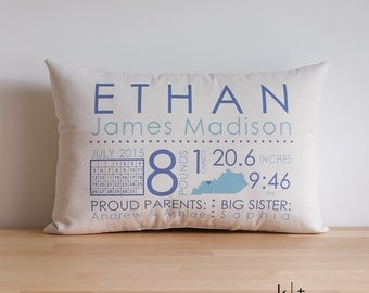 Personalized Baby Pillow - Baby Announcement - Baby Boy or Girl Pillow - Baby Stats Pillow - Baby Pillow - Baby Shower Gift - Baby Gift