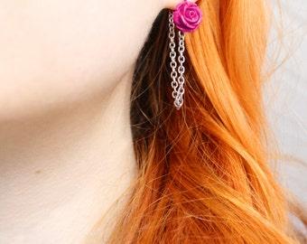 Ich bin Luxus - 'riot of FLOWERS pink' stainless steel floral earrings