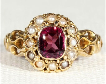 Antique Victorian Garnet and Pearl Ring in 15k Gold