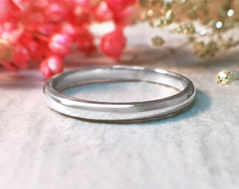 Wedding Band | 14K White Gold Ring | White Gold Wedding Band | Stackable Ring | Thin Gold Ring | Solid Gold | Fine Jewelry | Free Shipping