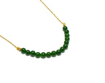 Jade Bar Necklace/ Green Jade Necklace/ Gold Jade Necklace/ Green Bar Necklace/ Jade Chain Necklace
