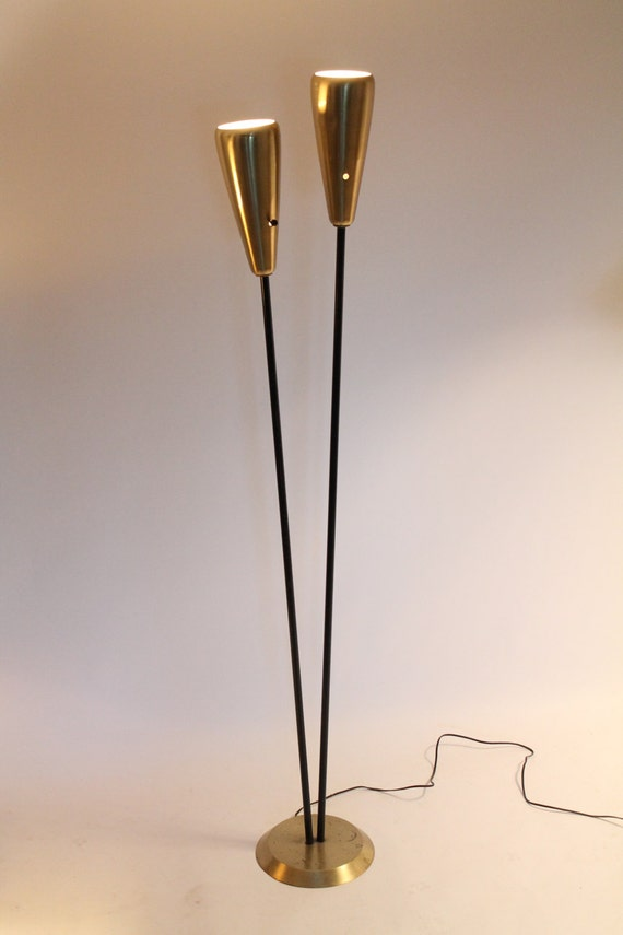 50s Twin Head Torchere Floor Lamp Mid Century Vintage Atomic