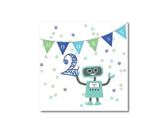 Children's boy, birthday card, 2 year old, Happy Birthday, fun, birthday, robot, greetings card