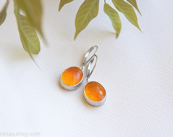 Orange earrings, orange wedding, orange and silver earrings, orange bridesmiads earrings, orange dangle earrings, oval tangerine earrings