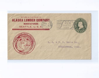 Alaska Yukon Pacific Exposition , ALSAKA LUMBER COMPANY, Seattle, U.S.A. Advertising Cover, with Exposition Slogan & Flag Cancelations 1909