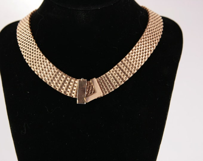 Mesh Gold Necklace Collar Chocker for Office Belt Like Trending Modern Chic Babe Career Jewelry