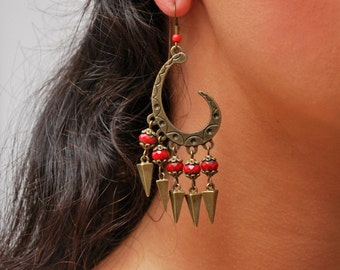 Flamenco earrings, Gypsy earrings, Hippie earrings, Red beads earrings, Unusual earrings, Festival Bronze spike earrings