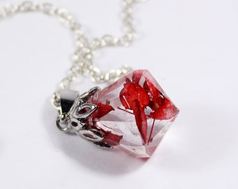 red crystal necklace flower pendant terrarium jewelry real plant necklace diamond necklace girlfriend gifts for wife bohemian necklace Рю67