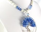 Tree of Life Pendant, Light Sapphire Glass, Blue Tree of Life Pendant, September Birthstone, Silver Tree-of-Life Pendant, Sapphire Glass