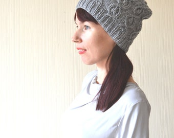 winter hat knitted hat beanie gray hat slouchy hat wife gift|for|wife knit hat slouchy beanie wool hat cable knit christmas gift|for|women