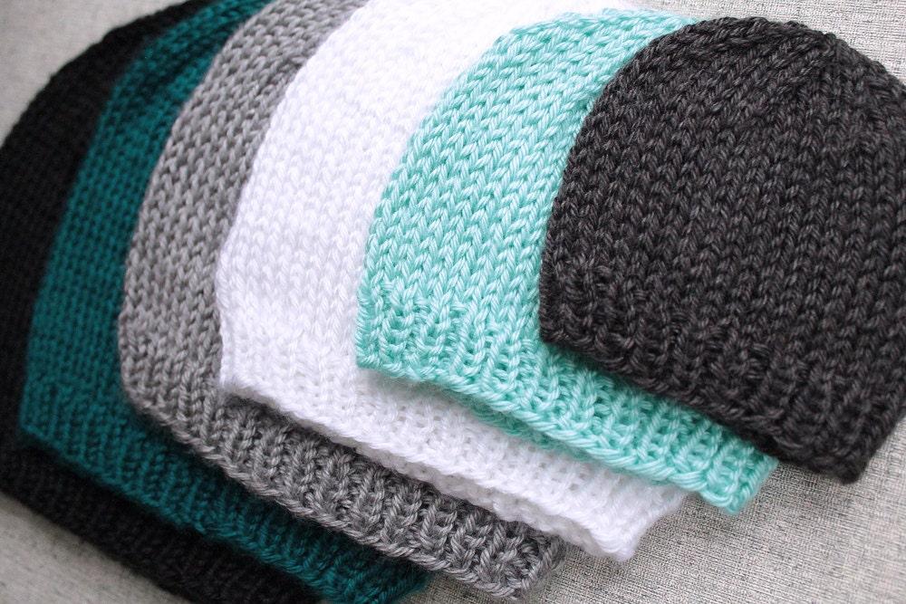 Knitting Pattern For Basic Hat : Preemie Size Basic Knit Beanie Hat