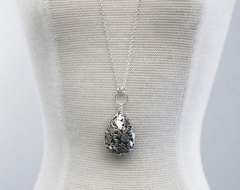 Balinese Sterling Silver Teardrop Pendant on Long Chain Necklace, Bali Bead, Sterling Silver Necklace
