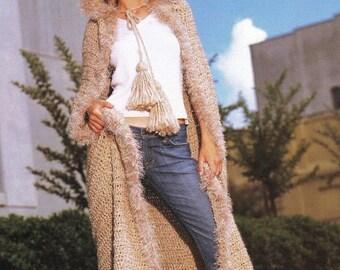 Crochet Jacket Wrap Long Hooded Cape Cloak Crochet PATTERN, - Digital Download-U.S. Version