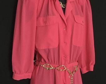 Hot Pink Chiffon Shirt Dress          VG100
