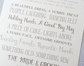 I Spy - Personalised Wedding Table Cards  x 30