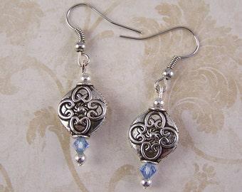 Silver Earrings ~ Silver Blue Crystal Earrings ~  Pierced Dangle Earrings ~ Boho Bohemian Unique Jewelry ~ Gift for Wife Mom Daughter Friend