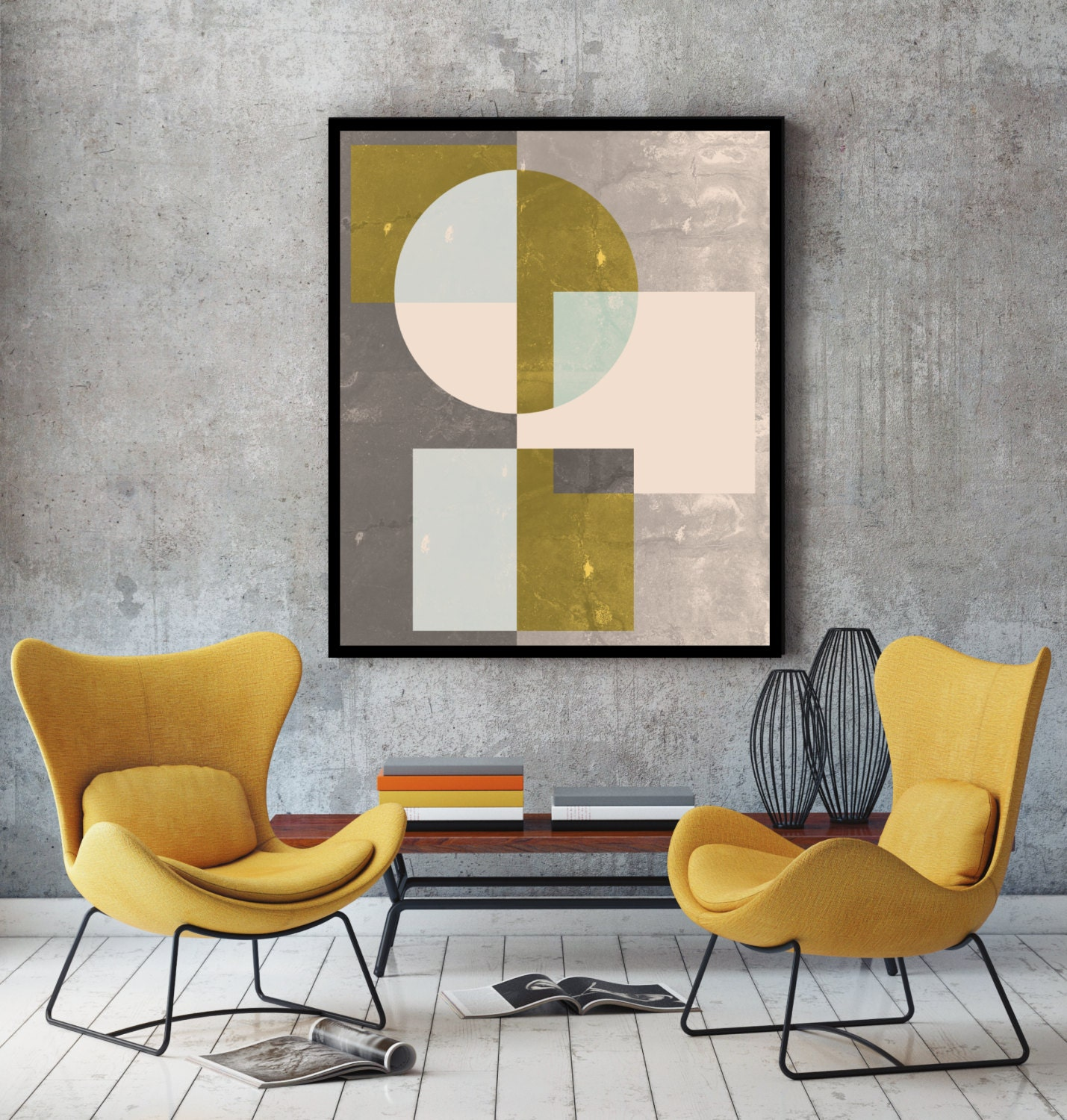 Mid century wall art print geometric art abstract art by ...
