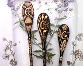 3 custom personalized monogrammed spoons-leaf- seedpod-ginko-oak-queen anne design, ooak , woodburning personalized